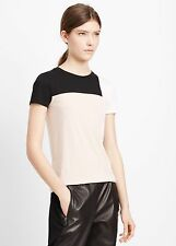 NEW VINCE Tri Colorblock Panel Short Sleeve Tee Shirt Top buff pink black S