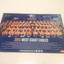 AFL 2016 WEST COAST EAGLES  TEAM POSTER, OFFICIAL MERC ITEM  SIGNED. BY PLAYERS
