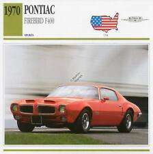 1970 PONTIAC FIREBIRD F400 Sports Classic Car Photo/Info Maxi Card