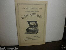POLYPHON MUSIC BOX OPERATING, OILING & REPAIR BOOKLET MANUAL