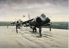 Hawker Siddeley sea Harrier jump jet on RN aircraft carrier Ready to Launch card