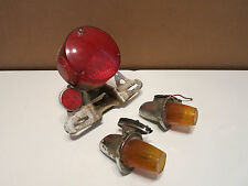 Vintage 1960-70's motorcycle tail light assembly With bracket & Signal lights