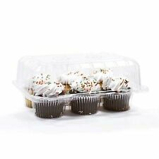 "50 pcs 6 Cupcake High Dome 4""  Muffin Holder Box Container Carrier Plastic Clear"