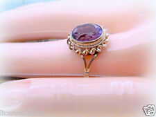 9ct YELLOW GOLD ART DECO GENUINE VINTAGE AMETHYST COLORED RING! MINT! 6.5!