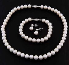 """Real 9-10mm Freshwater Pearl 18"""" Necklace & Bracelet Earrings Jewelry Set"""