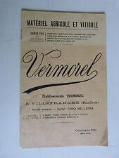 prospectus catalogue : matériel agricole et viticole VERMOREL  de mars 1923