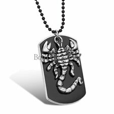 Army Men's Gifts Black Military Dog Tag Pendant Necklace w Silver Tone Scorpion
