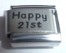 HAPPY 21st Italian Charm Birthday 21 Today Age Years Old 9mm Classic Size N141