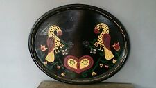 """Large 24"""" by 19""""  tin metal hand painted tray, birds & tulips design"""