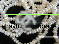 wholesale 3rows freshwater pearl white baroque  3-4mm necklace beads gift nature