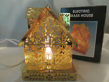 Vintage  Electric Brass Christmas Tree House Cottage Unusual!