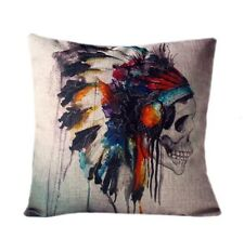 Cushions - Day of the Dead :) Sugar Skull Indian Cushion cover Linen Home Pillow