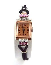 W559- RENSIE 14K ROSE GOLD WITH RUBIES AND DIAMONDS LADIES WATCH