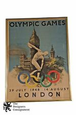 Original Walter Herz 1948 Olympic Games Poster by McCorquodale & Co. England Vtg