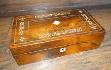 15620 Antique Inlaid Mother of Pearl Wood Jewelry / Document Box ~ Estate MOP