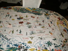 """NEW RETRO SOUVENIR USA TABLECLOTH VACATIONLAND RED AND WHITE KITCHEN CO 58""""X72"""""""