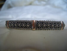 925 sterling silver and 18kt  gold inlaid semi rigid bracelet