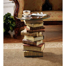 Artistically Stacked Books Library Den Reading Glass Top Side Occasional Table