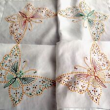"Vintage Hand Embroidered White Linen ""Butterflies "" Table Cloth 35x35 Inches"