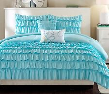 RUFFLE TEAL BLUE 5pc Full Queen COMFORTER SET :TEEN GIRL PRINCESS SHABBY LAYERED