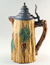 Jugendstil-Bierhumpen, jagdlicher Bierkrug, Keramik mit Zinndeckel, Höhe 29 cm.