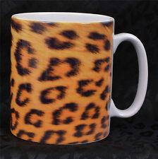 GOLDEN LEOPARD PRINT COFFEE MUG ROCKABILLY PSYCHOBILLY GOTH PUNK ALTERNATIVE