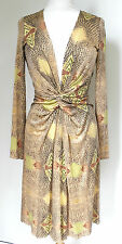ISSA yellow snake print front gathered silk jersey dress UK 10 US 6