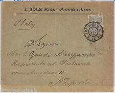 NETHERLANDS Nederland -  POSTAL HISTORY: PERFIN stamps on COVER to ITALY 1898