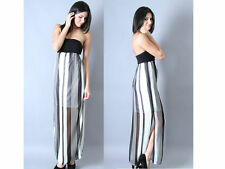 Black and White Striped Strapless Chiffon Long Maxi Dress Womens Small Clothes