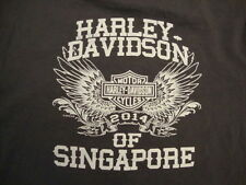 HARLEY DAVIDSON MOTORCYCLE Singapore SAS PTA County Fair 2014 Gray T Shirt S