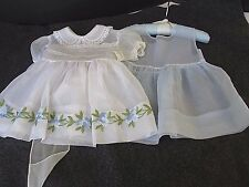 VINTAGE BABY GIRLS WHITE ORGANZA PARTY DRESS WITH PALE BLUE PETTICOAT..