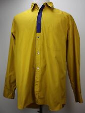 Comme des Garcons Homme Plus Mens Button Front Long Sleeve Shirt Yellow Blue
