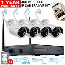 Wireless NVR WiFi IP CAMERA CCTV DVR KIT 4CH 720P HD P2P ONVIF Waterproof