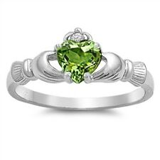 Ladies 925 Sterling Silver Peridot CZ Heart Irish Claddagh Ring Plus Size 10 T