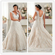 Plus Size Lace Wedding Dress Bridal Gown Custom 14 16 18 20 22 24 26 28 +