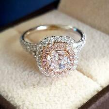 2.40 Ct Natural Double Halo Split Shank Pink Diamonds Engagement Ring