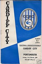 CARDIFF CITY V PORTSMOUTH   2ND DIVISION  21/3/69