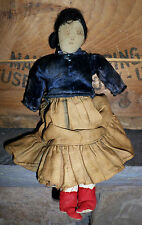 Antique Vintage Navajo Native American Cloth Doll Drawn Face Mohair Wig