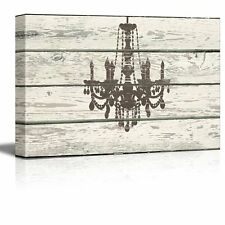 Chandelier Silhouette Crystal Candles II Artwork - Rustic Canvas Wall Art- 16x24