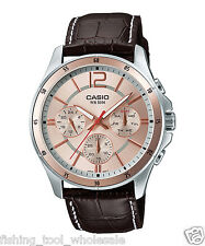 MTP-1374L-9A  Casio Men's Watches Date Display 50m Leather Band Brand New