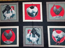 Chicken Royal Rooster Panel 24 by 44 inches cotton fabric