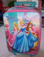 Disney Princess Cinderella Girls Pink Kids Rolling Luggage Suitcase New