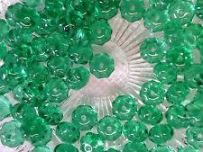 Vtg 100 GREEN TRANSPARENT FLOWER RONDELLE SPACER GLASS BEADS #101012o