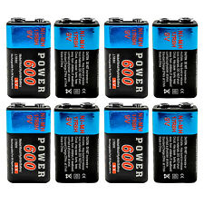 8 pcs 9V 9 Volt 600mAh Ni-MH Rechargeable Battery for Radio Guitar RC Toy PP3