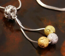 Charm 18k Tri-color Gold Filled GF Filigree Balls Beads Womens Girls necklace