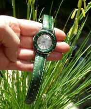 "WOMEN'S ECCLISSI STERLING MOISTURE RESISTANT GREEN 9"" LEATHER STRAP WATCH"