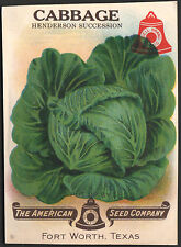 *Vintage* CABBAGE Veg Seed Packet Front Only AMERICAN SEED 1930's TEXAS *RARE*