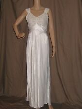 VTG 30s LADY DUFF rayon NIGHT dress gown LACE bodice CUTWORK screen SIREN small