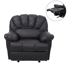 HomCom Leather Rocking Sofa Single Recliner Chair Black Cushion