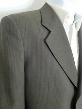 Men's Authentic Armani Collezioni Olive Green Pinstripe Suit Jacket 40 R Italy